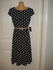 Jones New York Wear to Work Cap Sleeved Fit and Flare Poka Dot Dress with Belt