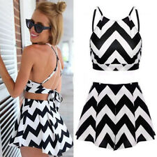 Womens Bodycon Stripe Illusion Bandage Two Piece Crop Top and Skirt Dress Set