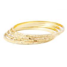 Tania - 18K Gold Plated (Layered) Diamond Cut Solid Fashion Bangle Bracelets