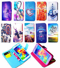 Painting PU Leather Flip Wallet Card Holder Stand Case Cover For samsung phones