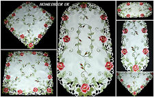PINK ROSES tablecloth, tabella RUNNER, Doily con RICAMATO ROSE
