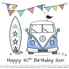 Quality Personalised BIRTHDAY CARD ~ AGE & NAME or RELATION Surf Campervan Boys