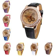 New Butterfly Diamond Watch Gold Dial Leather Band Quartz Wrist Watch Perfect