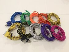 6FT 2M Colorful Cable Fabric Braided USB Charging Cord For Iphone 4S 4 3GS 3G