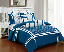 9 Piece Nelson Blue and White Comforter Set