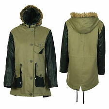 NEW WOMENS PVC PU LEATHER WET LOOK SLEEVE FUR HOODED MILITARY JACKET COAT (8-14)