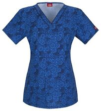 Scrubs Dickies Print Top On The Dance Floral 84724C ONDA  FREE SHIPPING!