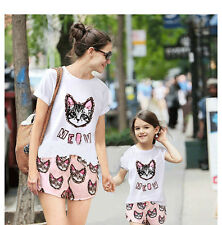 FOR SUMMER Family fitted Cute&Sweety Style,Cat Printing ,mom and daughter's gift
