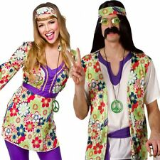 Adult Mens Ladies Couple 60s 70s Groovy Hippy Flower Power Fancy Dress Costume