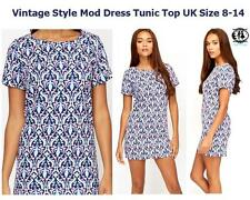 LADIES VINTAGE PRINT TWIGGY MOD DRESS MINI TUNIC TOP TEA BLOUSE SHIFT SKATER 60s