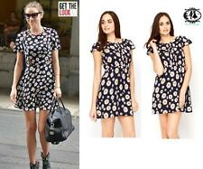 LADIES DITSY FLOWER PRINT SHIFT DRESS SKATER TEA TUNIC SUMMER BEACH CASUAL PARTY