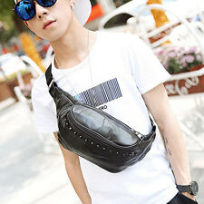 Men Sheepskin Leather  Sling Messenger Chest Fanny Pack Waist Purse Rivets Bag
