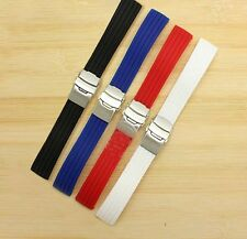 Silicon Rubber Watch Strap Band Waterproof Diver Sport 18 20 22 24mm Replacement