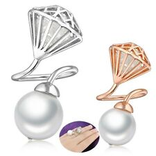 Adjustable Particular Big Pearl Ring Curving Style 18K GP Party Gift R840R842
