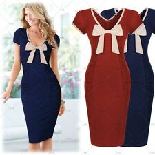 Womens Summer Clothes Dress Ladies Vintage Wedding Bow Bodycon Pencil Dresses