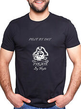 PILOT BY DAY PIRATE BY NIGHT PERSONALISED T SHIRT FUNNY