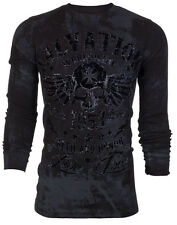 Archaic AFFLICTION Mens THERMAL T-Shirt BLACK TIDE Skull Tattoo Biker M-3XL $58