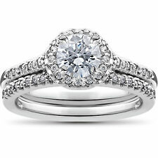 Halo Engagement Bridal Ring Band Set 1.01 Ct Real Diamond Jewelry White Gold