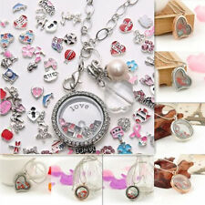 Living Memory Floating Charms Glass Round / Heart Locket Pendant Chain Necklaces