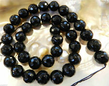 6mm 8mm-12mm Faceted Black Agate Onyx Gemstone Round Loose Bead 15''