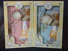 New Baptism Christening Candle Box Gift Shell Set Boys or Girls Spanish  Rosary