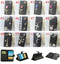 3D Bling Crystal Diamonds wallet flip stand PU leather Case Cover Skin for Nokia