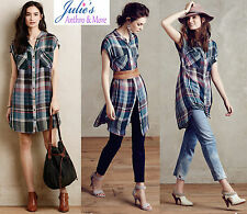 New Anthropologie Mixed Plaid Tunic Dress M,L Effortless Pretty Wearable Chic