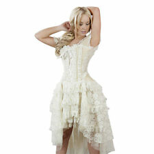 Womens plus size Cream Ophelie Prom Steampunk Victorian Evening Corset Dress