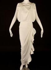 BALENCIAGA-White Crepe Ruffled Evening Gown, Size-6