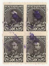 CANADA REVENUE NFR24 USED BLOCK OF 4 RARE