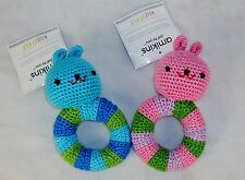 Hand Crocheted Baby Rattle ~ Choice Of Pink or Blue Bunny ~ Amikins KidStyle