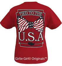 """Girlie Girl Originals """"Tied to the USA"""" Cherry Red Unisex Fit T-Shirt"""