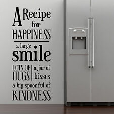 RECIPE, LARGE WALL STICKER, Smile, Kiss, Love, Decal, WallArt, SS1502