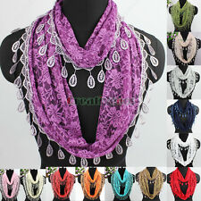Fashion Women's Floral Flower Lace Tassel Infinity Loop Casual Scarf Lady Shawl