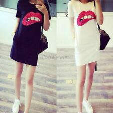 Fashion Summer Women Short Sleeve Sequins Lip T-Shirt Long Tops Mini Dress G27