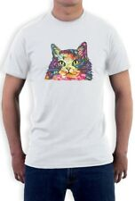 Cat Lover Gift Tee Rainbow Fluffy Kitty Neon Graphic T-Shirt Novelty Gift