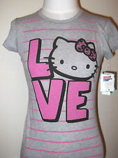 HELLO KITTY  Love Women's  Junior T-shirt Tee Sanrio   L Grey