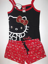 Woman's JR HELLO KITTY Tank Shorts  Pajama  PJ  SET SLEEPWEAR Black Red L Lg