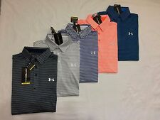 NWT UNDER ARMOUR MENS COLD BLACK LOOSE FIT STRIPES  POLO SHIRT S/M/L/XL/2XL