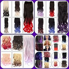 """Ombre Curly Clipped Hair Extension OR Dip Dye Claw Clip Straight 21"""" Ponytail"""