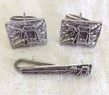 AUTHENTIC STERLING SILVER CUFFLINKS AND TIE TACK