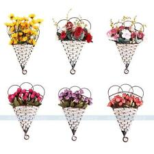 6 Style Artificial Flower Hanging Basket Silk Roses/Sunflowers Garden Wall Decor