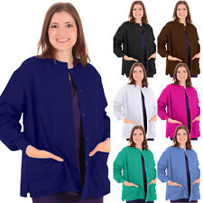 Unisex Men Women Medical Nursing Clinic Hospital Snap Front Scrub Warm Up Jacket