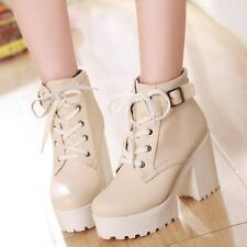 Fashion Platform Block Heel Lace Up Ankle Womens Boots High Top Shoes Plus Size
