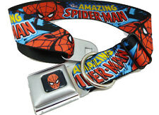 Spiderman Marvel Comics Seat Belt Buckle Dog Collars or Leash NWT 4 Sizes
