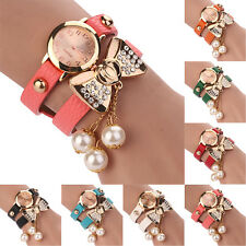 Women Rhinestone Bowknot Imitated Pearl Bracelet Quartz Faux Leather Wrist Watch