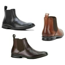 MENS HUSH PUPPIES CHELSEA EXTRA WIDE MEN'S BLACK LEATHER WORK SLIP ON BOOTS