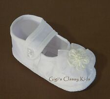 New Baby Girls White Christening Baptism Dedication Booties Dress Shoes  0 1 2