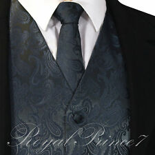 CHARCOAL XS - 6XL Paisley Tuxedo Suit Dress Vest Waistcoat & Neck tie Wedding