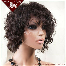 """Fashion Brazilian Short Curly Human Hair Front/Full Lace Wig 8-10"""" 4 color"""